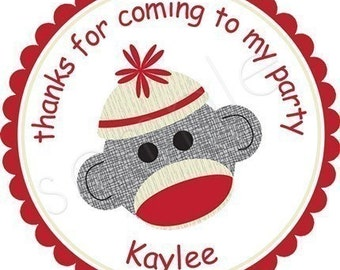 Sock Monkey Personalized Stickers - Party Favor Labels, Address Labels, Birthday Stickers, Belonging Labels, Baby Shower - Choice of Size