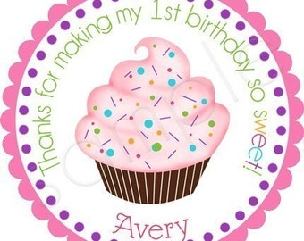Colorful Cupcake With Sprinkles Personalized Stickers - Party Favor Labels, Address Labels, Gift Tag, Birthday Stickers - Choice of Size