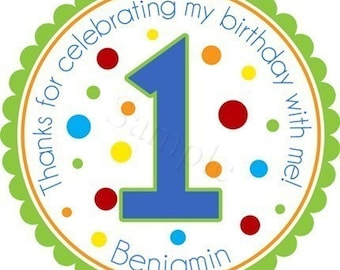 Polka Dot Birthday Age Number Personalized Stickers - Favor Labels, Party Favor Stickers, Birthday Stickers, Age - Choice of Size