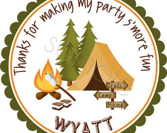 Camping Party Personalized Stickers - Birthday Stickers, Favor Labels, Party Favor, Camping Stickers, Scouting - Choice of Size