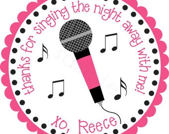 Karaoke Party Microphone Personalized Stickers - Party Favor Labels, Gift Tag, Birthday Stickers, Girls Night Out - Choice of Size