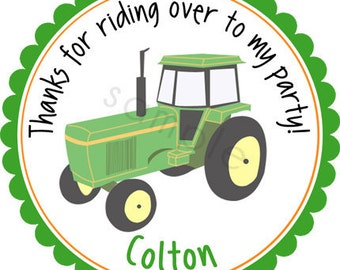 Farming Tractor Personalized Stickers - Party Favor Labels, Address Labels, Birthday Stickers - Choice of Size