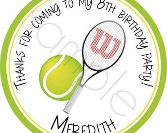 Tennis Ball and Racquet Personalized Stickers - Party Favor Labels, Birthday, Address Labels, Sports - Choice of Size