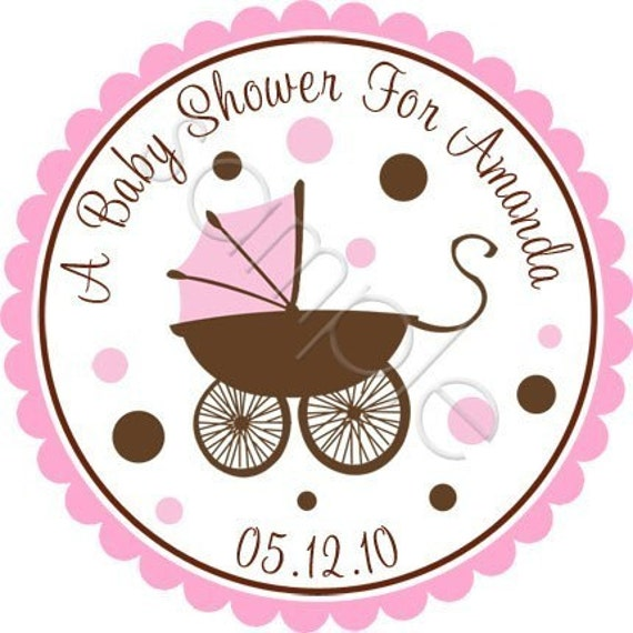 Cutest Baby Pram Personalized Stickers - Baby Shower Stickers, Party Favor Labels, Address Labels, Stroller, Envelope Seals - Choice of Size