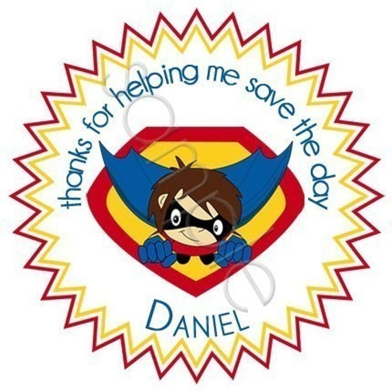 Superhero Boy Personalized Stickers - Party Favor Labels, Address Labels, Birthday Stickers, Superhero, Comic, Bam, Kaboom - Choice of Size
