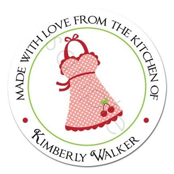 Personalized Vintage Kitch Cherry Polka Dot Apron Stickers - Party Favor Labels, Baking, Kitchen Sticker, Baked Goods - Choice of Size
