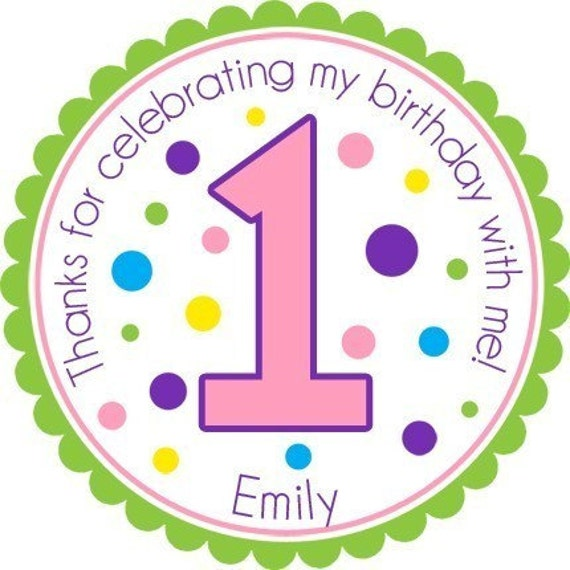 Polka Dot Birthday Age Number Personalized Stickers - Party Favor Labels, Address Labels, Gift Tag, Birthday Stickers - Choice of Size