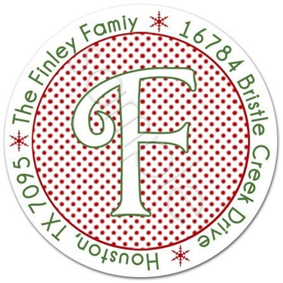 Personalized Stickers - Any Color Polka Dot Monogram - Personalized Stickers, Labels, Party Favor, Address Labels - Choice of Size