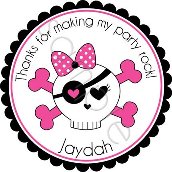 Monster High Inspired Pink Girly Skull Personalized Stickers - Party Favor Labels, Address Labels, Birthday Stickers, Skull - Choice of Size