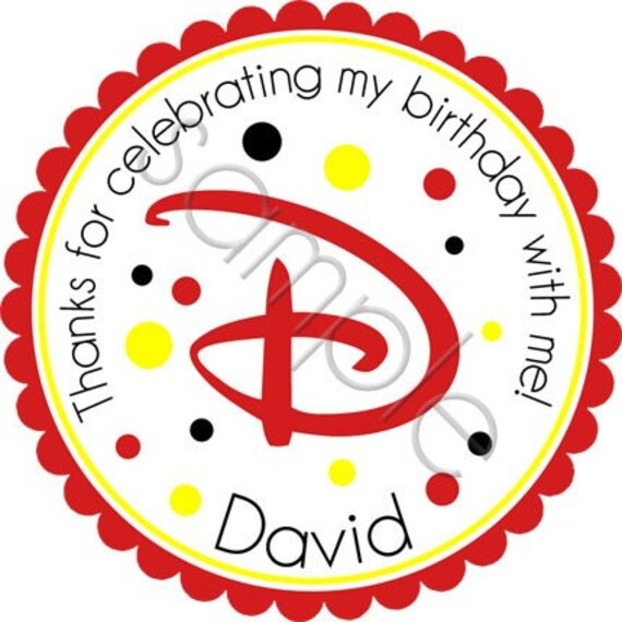 Disney Inspired Monogram Personalized Stickers - Party Favor Labels, Address Labels, Birthday Stickers - Choice of Size