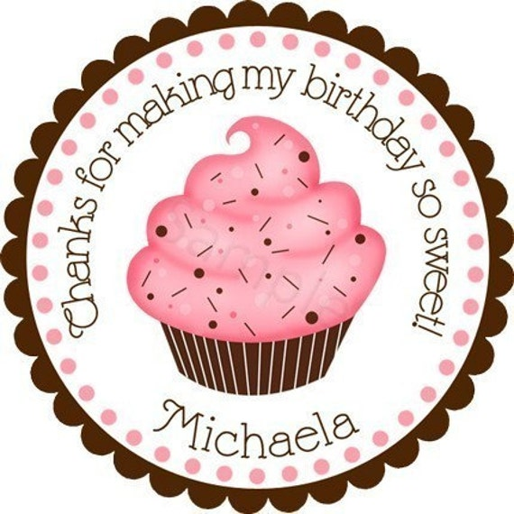 Personalized Pink and Chocolate Cupcake Stickers - Party Favor Labels, Address Labels, Birthday Stickers, Cupcake - Choice of Size