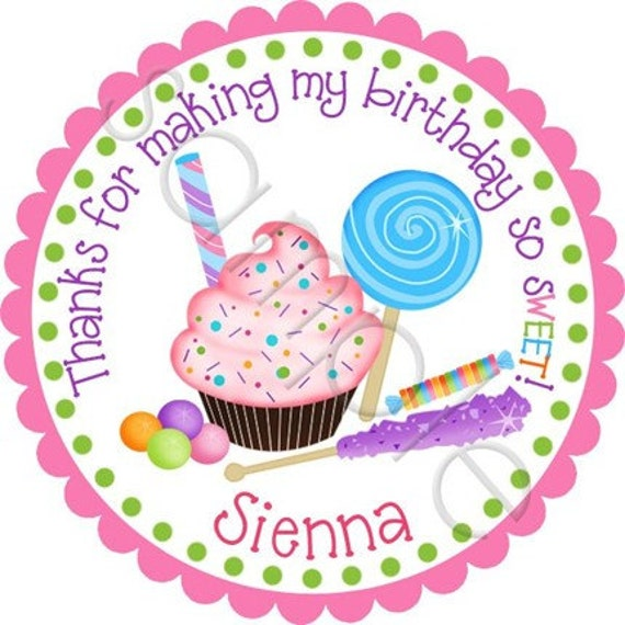 Sweet Shoppe Personalized Stickers - Birthday Stickers, Party Favor Stickers, Candy, Lollipop - Choice of Size