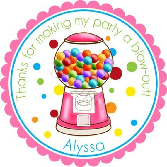 Personalized Gumballs Galore in PINK Stickers - Party Favor Label, Address Labels, Birthday Stickers, Bubblegum - Choice of Size