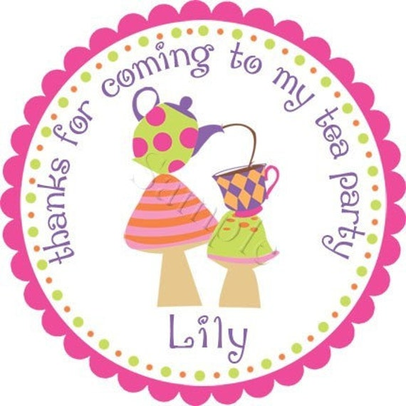 Topsy Turvy Tea Party Personalized Stickers - Party Favor Label, Birthday Stickers, Tea Party, Baby Shower, Bridal Shower - Choice of Size