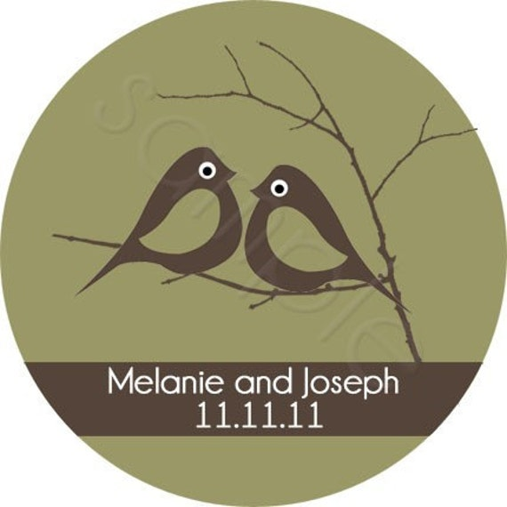 Wedding Stickers - Love Birds Nestled On A Branch Personalized Stickers, Wedding Favor Labels, Envelope Seals - Choice of Size