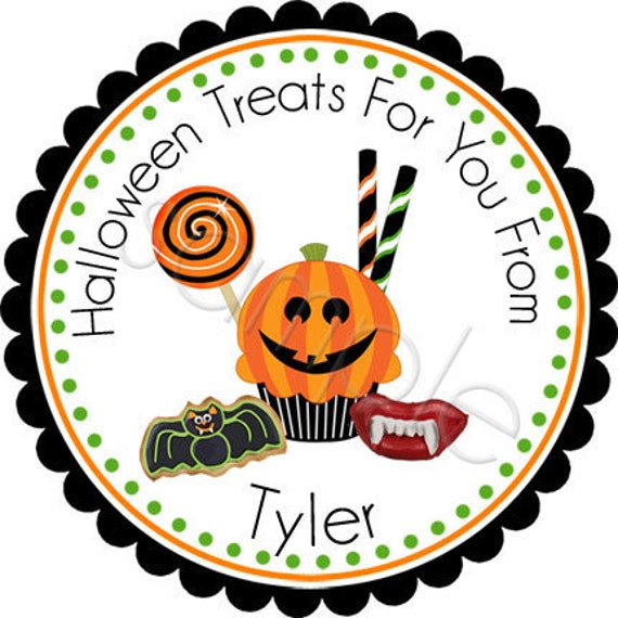 Halloween Candy Galore - Personalized Stickers, Halloween Stickers, Party Favor Labels, Trick or Treat - Choice of Size