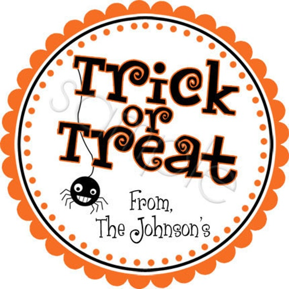 Halloween Trick Or Treat Halloween Stickers, Personalized Stickers, Party Favor Labels, Holiday, Halloween - Choice of Size