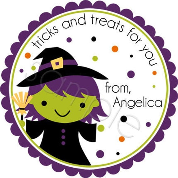 Halloween Witch - Personalized Stickers, Party Favor Labels, Trick or Treat Halloween Stickers - Choice of Size