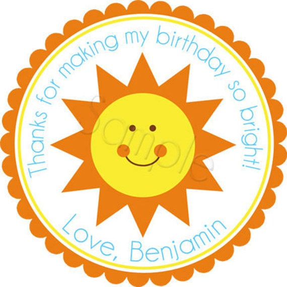 You Are My Sunshine Personalized Stickers - Favor Labels, Party Favor, Address Labels,  Birthday Stickers - Choice of Size