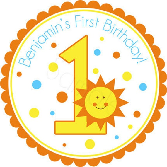 Sunshine Birthday Age Number Personalized Stickers - Favor Labels, Party Favor, Address Labels,  Birthday Stickers - Choice of Size
