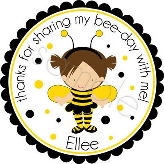 Personalized Blonde or Brunette Bumble Bee Costume Girl Stickers - Party Favor Stickers, Birthday Stickers, Garden Party - Choice of Size