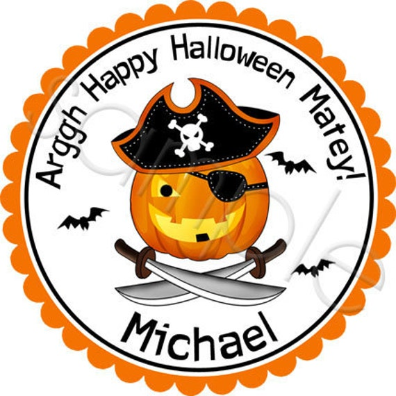 Halloween Pirate Pumpkin - Personalized Stickers, Halloween Stickers, Party Favor Labels, Trick or Treat - Choice of Size