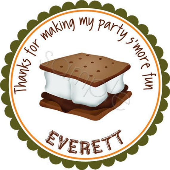 Personalized S'more Fun Stickers - Birthday Stickers, Party Favor Stickers, Party Favor Labels, Camping Stickers, Smores - Choice of Size