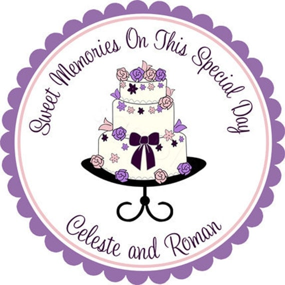 wedding cake personalized stickers labels wedding favor stickers