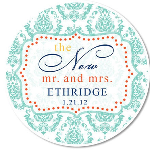 Damask and Fancy Frame The New Mr. and Mrs. Personalized Stickers - Favor Labels, Wedding Favor, Bridal - Choice of Size