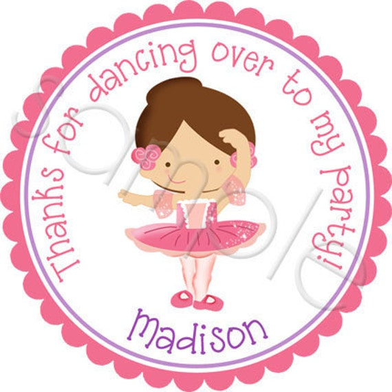 Ballerina Personalized Stickers - Party Favor Labels, Gift Tag, Birthday Stickers, Ballet, Dance Party, - Choice of Size