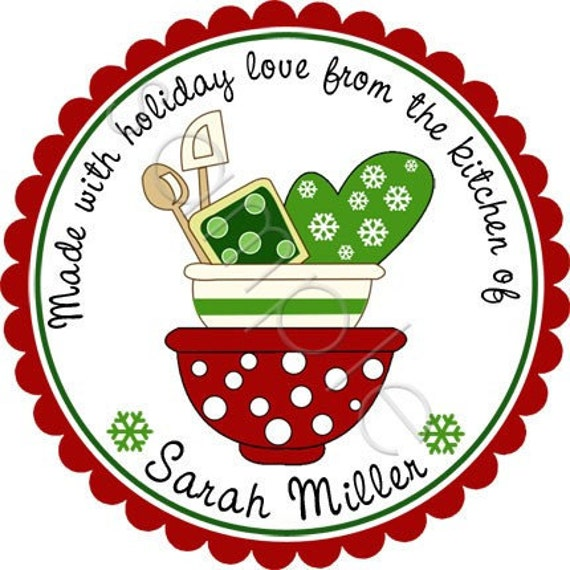 Personalized Christmas Stickers - Holiday Mixing Bowls Personalized Stickers - Baked Goods Stickers, Holiday Baking Labels - Choice of Size
