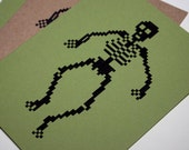 8 Bit Halloween card pixel skeleton notecard 80's videogame