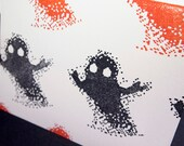 Pixel Ghosts Galore, halloween card set of 4, 8 bit ghost blank note cards