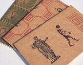 Retro Moleskine pocket journal set, geek psychedelic philosophy, vintage kitsch