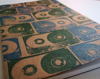Mix tape large moleskine, 80's music journal cassette tape notebook