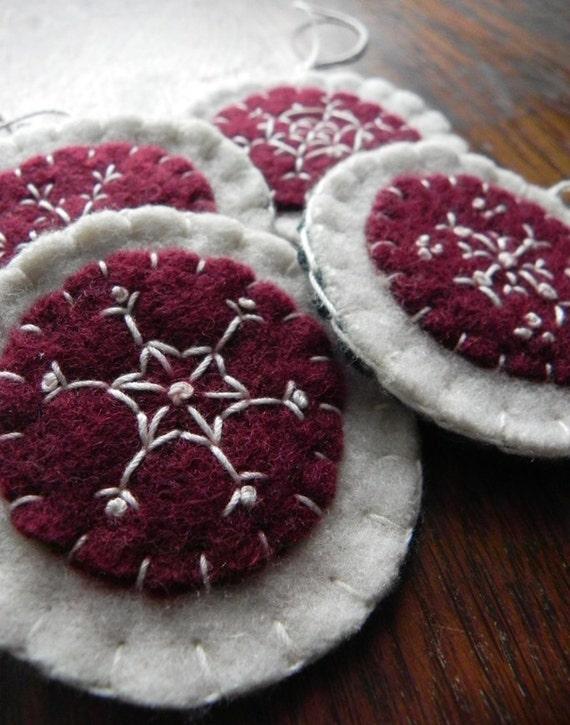 Christmas Ornaments- Burgundy and white Snowflake