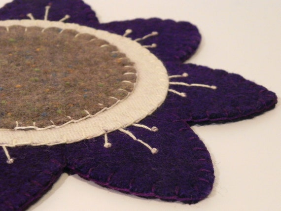 Purple Flower Candle Mat- Reclaimed Wool Felt