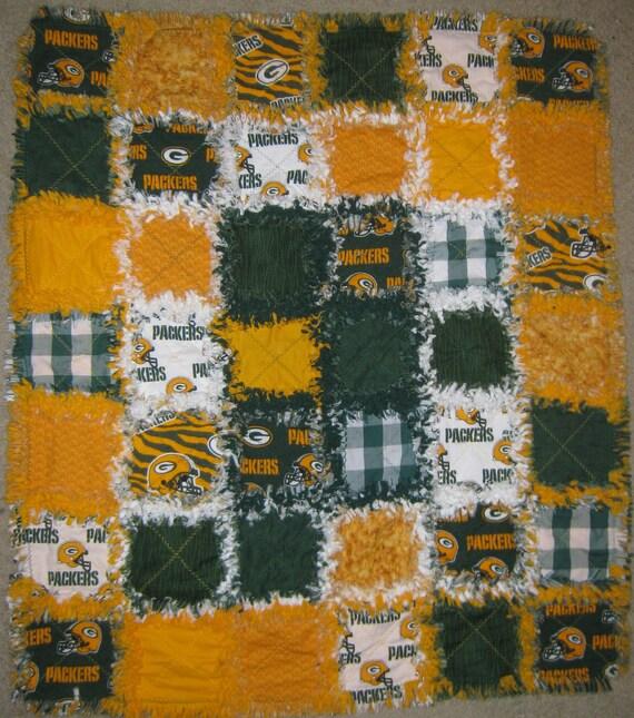 Handmade Green Bay Packers Baby Blanket Rag Quilt
