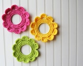 Decorative Crochet Wreath Wall Hangings & Picture Frames Bright Color Fun