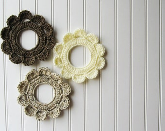 Decorative Crochet Wreath Wall Hangings & Picture Frames Muted Brown