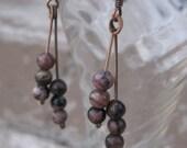 Rhodonite - Recycled Guitar String Earrings