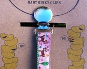 Pink Forest and Deer Binky/Pacifier Clip or Toy Leash