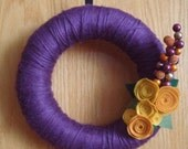 Purple Yarn Wreath  With  Mustard  Color Felt Flowers 12 IN WREATH-Ready To Ship