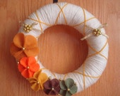 CREAM YARN WREATH DOOR DECORATION WITH FALL FLOWERS-10 IN WREATH-READY TO SHIP