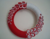 Red and White Yarn Wreath with Oysters and Pearls-10 in Wreath- Ready to Ship