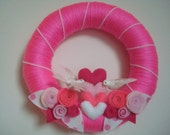 Love Birds Romantic Yarn Wreath Door-Wall Decoration-10 in Wreath