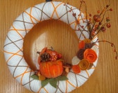 Handmade Fall Yarn Wreath with pumpkin-Door-Wall Decoration-14 in Wreath- Ready to Ship