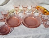 Vintage Glass -20 Pc Pink Depression Glass Swirl Pattern France