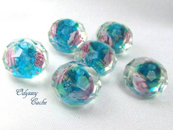 6 Blue Turquoise and Pink Faceted Rose Lampwork Glass 12x8mm Rondelle Spacer Beads
