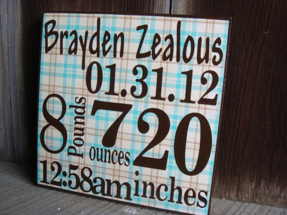 Personalized Birth Announcement Sign, Wall Art, Block -Boy- click for more colors